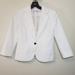 White Calvin Klein Blazer with Gold Button